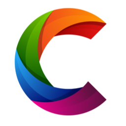 cryptoartnet logo - a colorful letter C